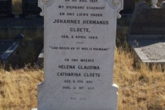 Cloete, Johannes Hermanus born 06 April 1885 died 20 August 1927 + Helen Claudina Catharina born 08 February 1890 died 21 May 1988