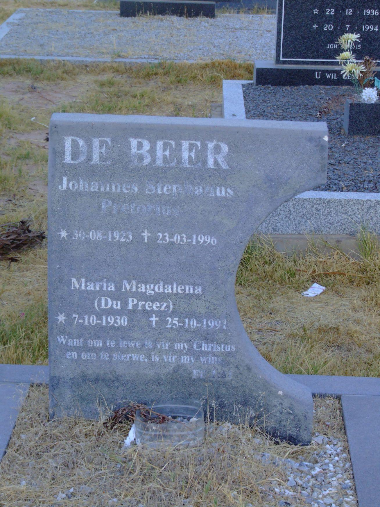 De Beer, Johannes Stephanus Pretorius and Maria Magdalena Du Pre