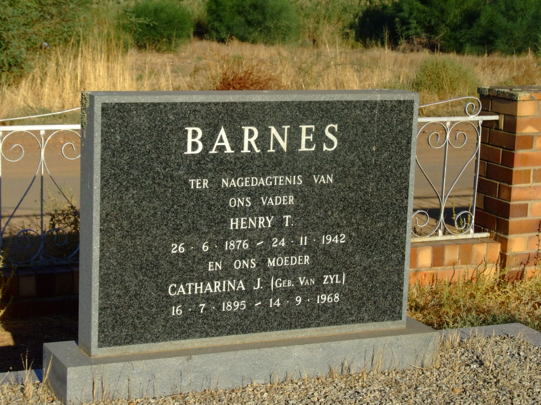 Barnes, Henry T. and Catharina J. nee van Zyl