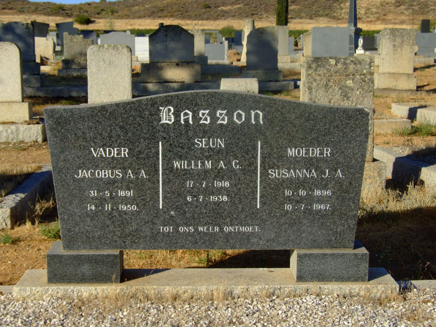 Basson, Jacobus A. A. and Willem A.C. and Susanna J. A
