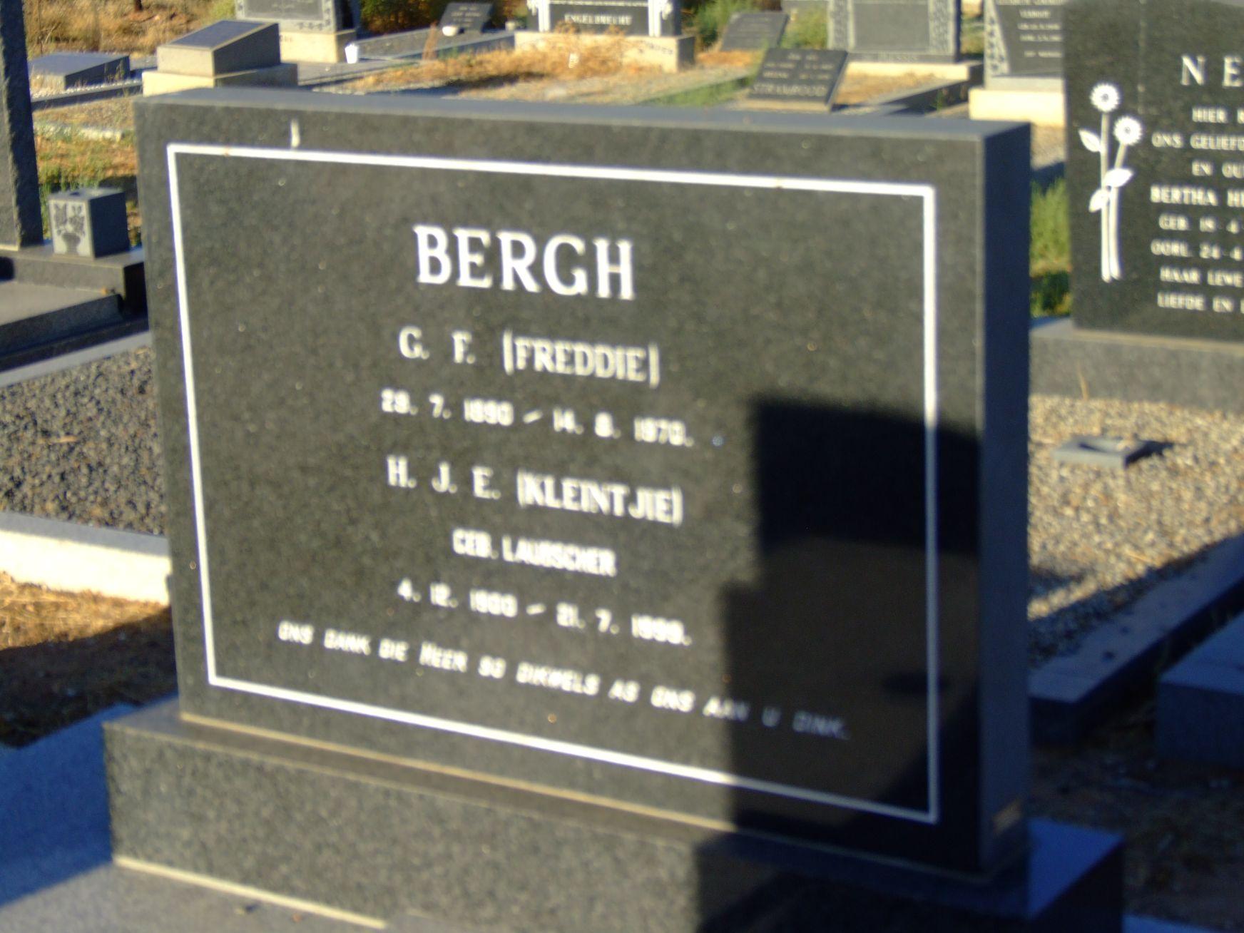Bergh, C.F. + Bergh, H.J.E. (neè Laubscher)