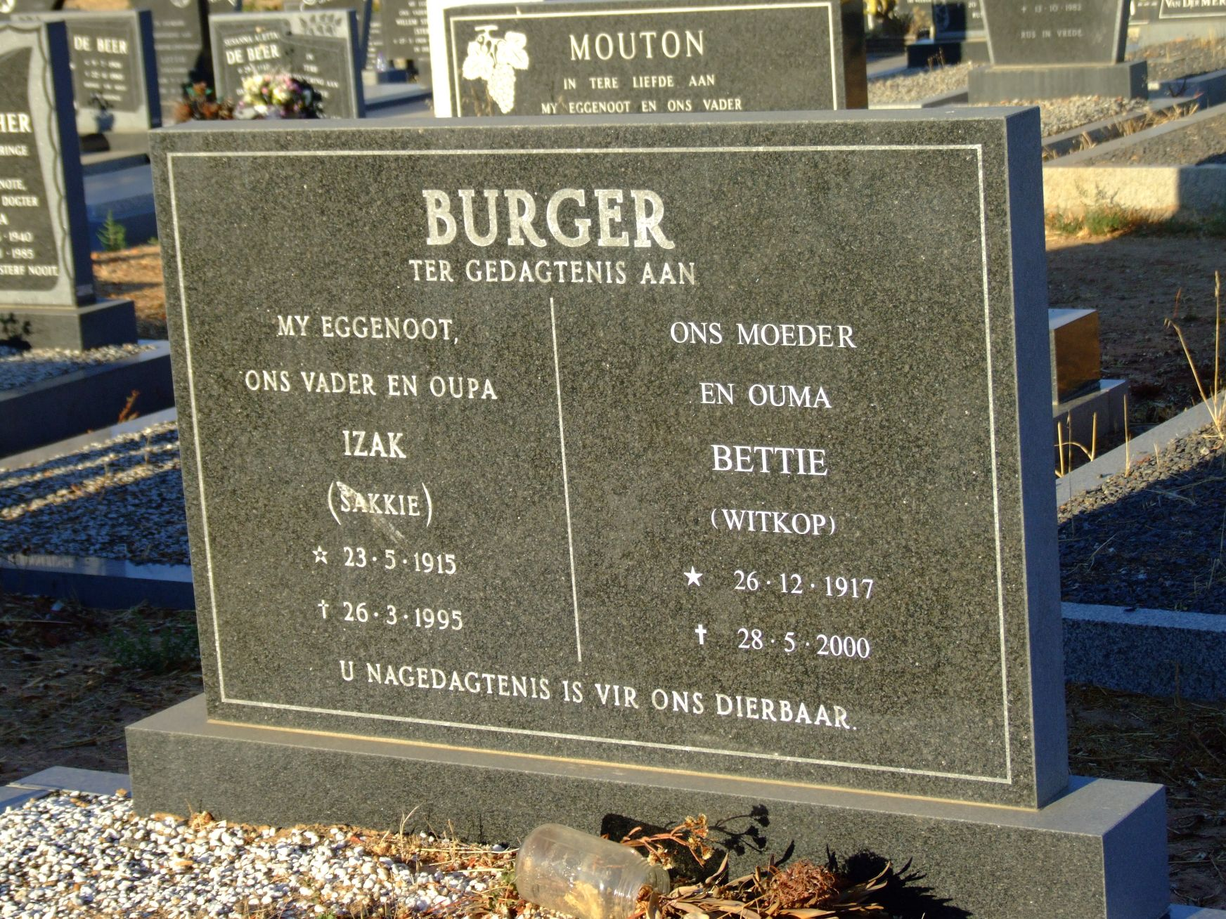 Burger, Izaak + Burger, Bettie