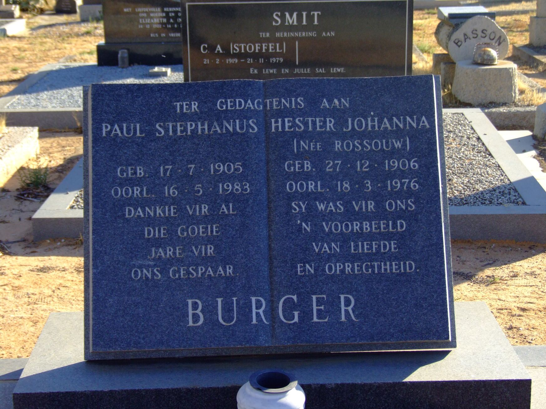 Burger, Paul Stephanus and Burger, Hester Johanna (nee Rossouw)
