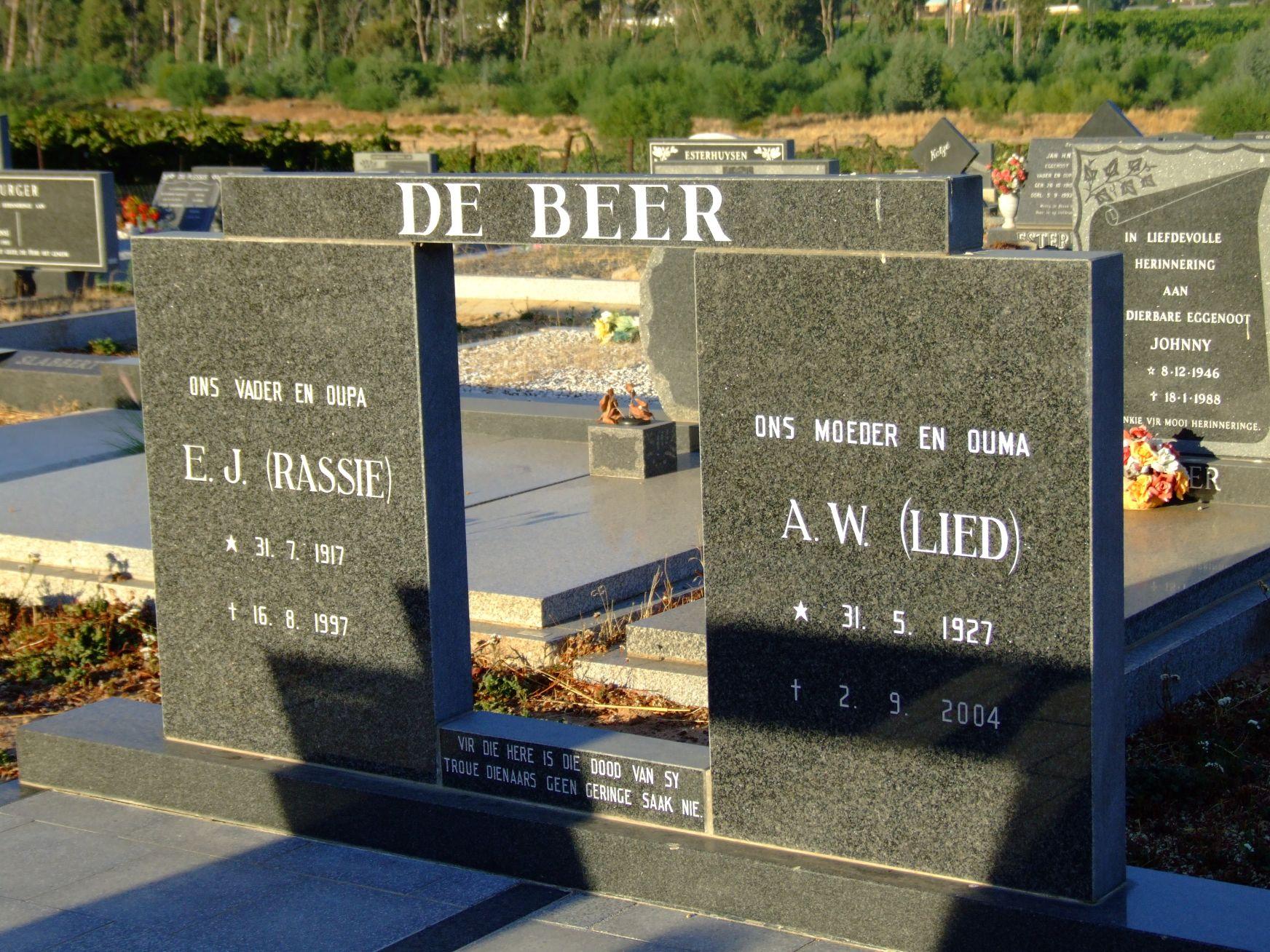 De Beer, E J and De Beer A W
