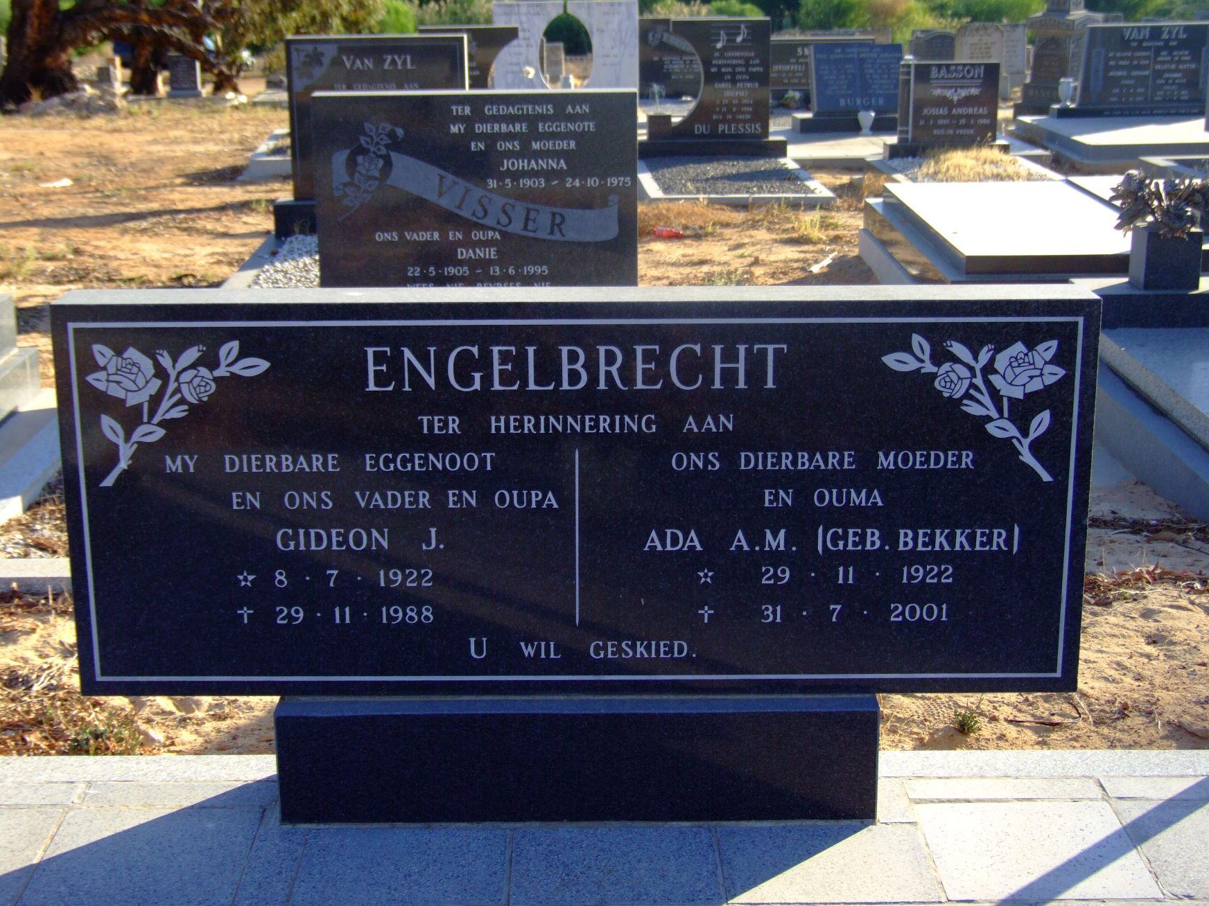 Engelbrecht, Gideon J. and Engelbrecht, Ada A. M. (nee Bekker)
