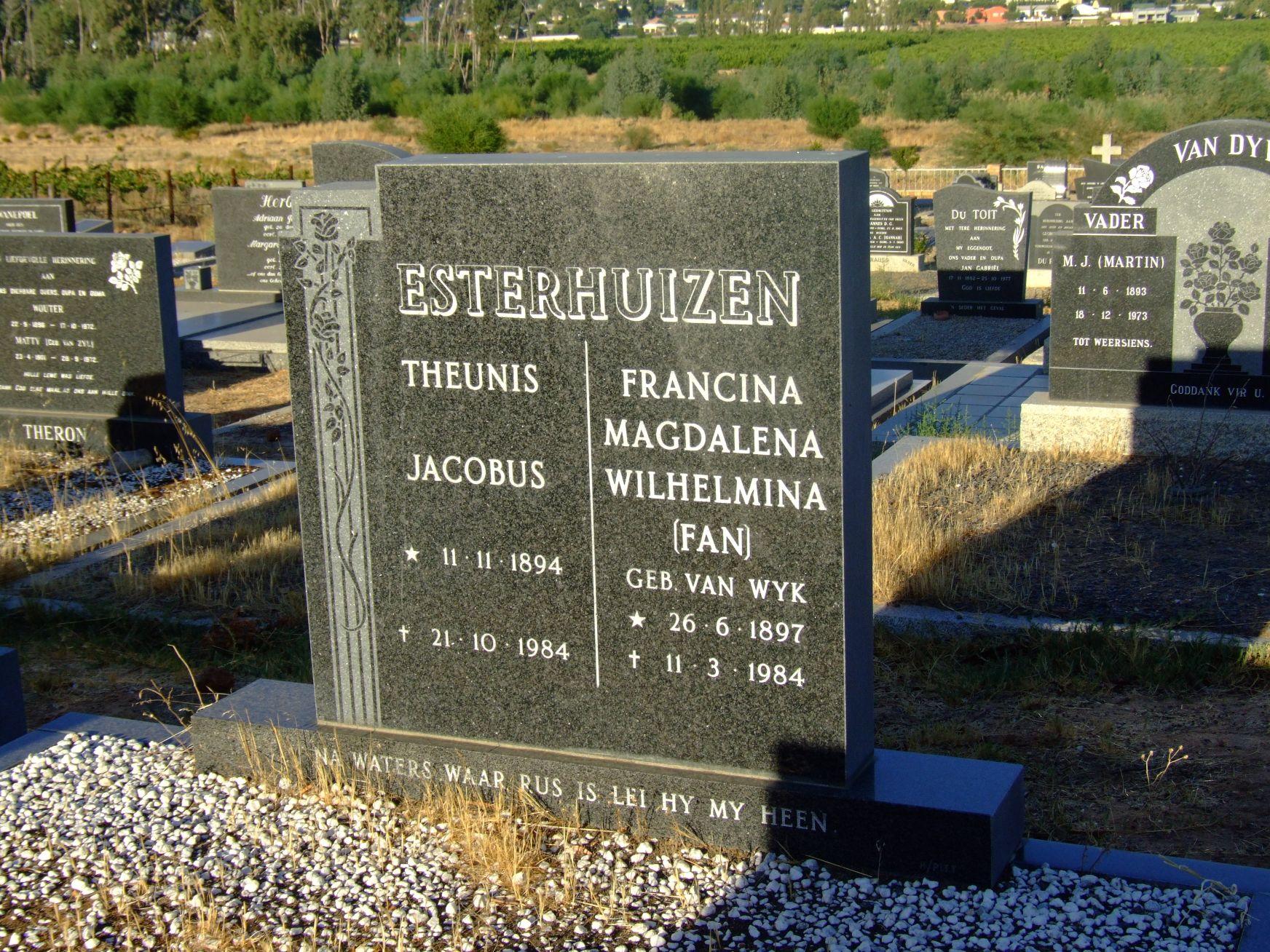 Esterhuizen, Theunis Jacobus and Francina Magdalena Wilhelmina n