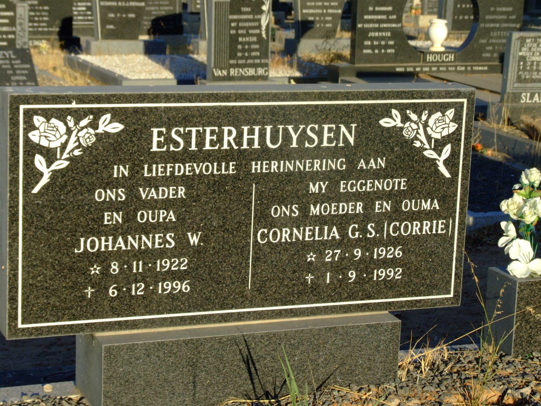 Esterhuysen, Johannes W. and Esterhuysen, Cornelia G. S. (Corrie