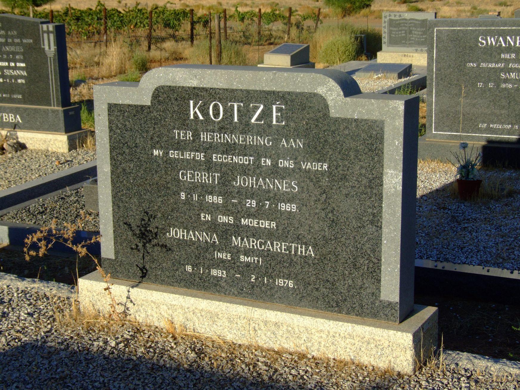 Kotze, Gerrit Johannes + Kotze, Johanna Margaretha