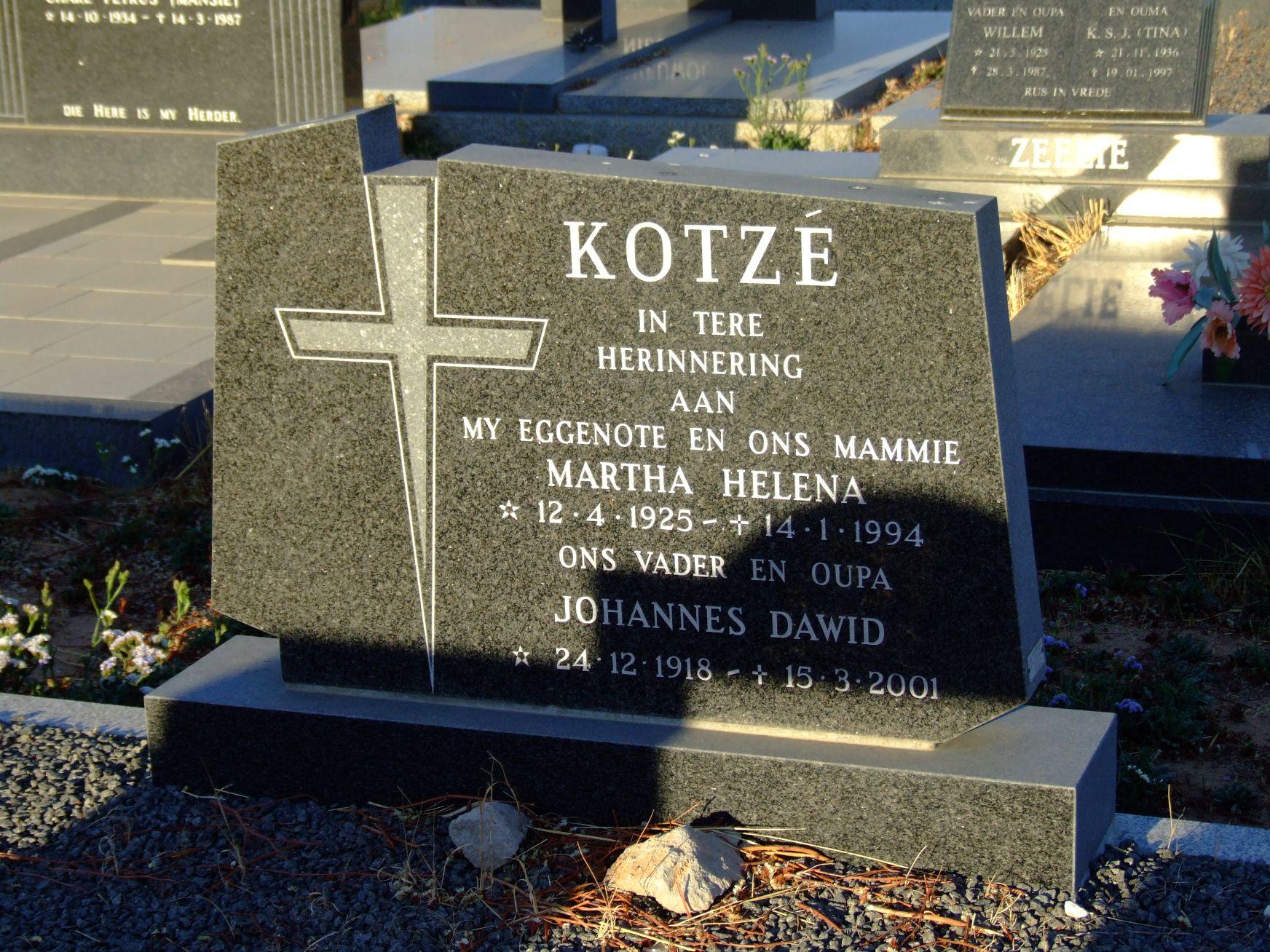 Kotze, Martha Helena + Kotze, Johannes Dawid