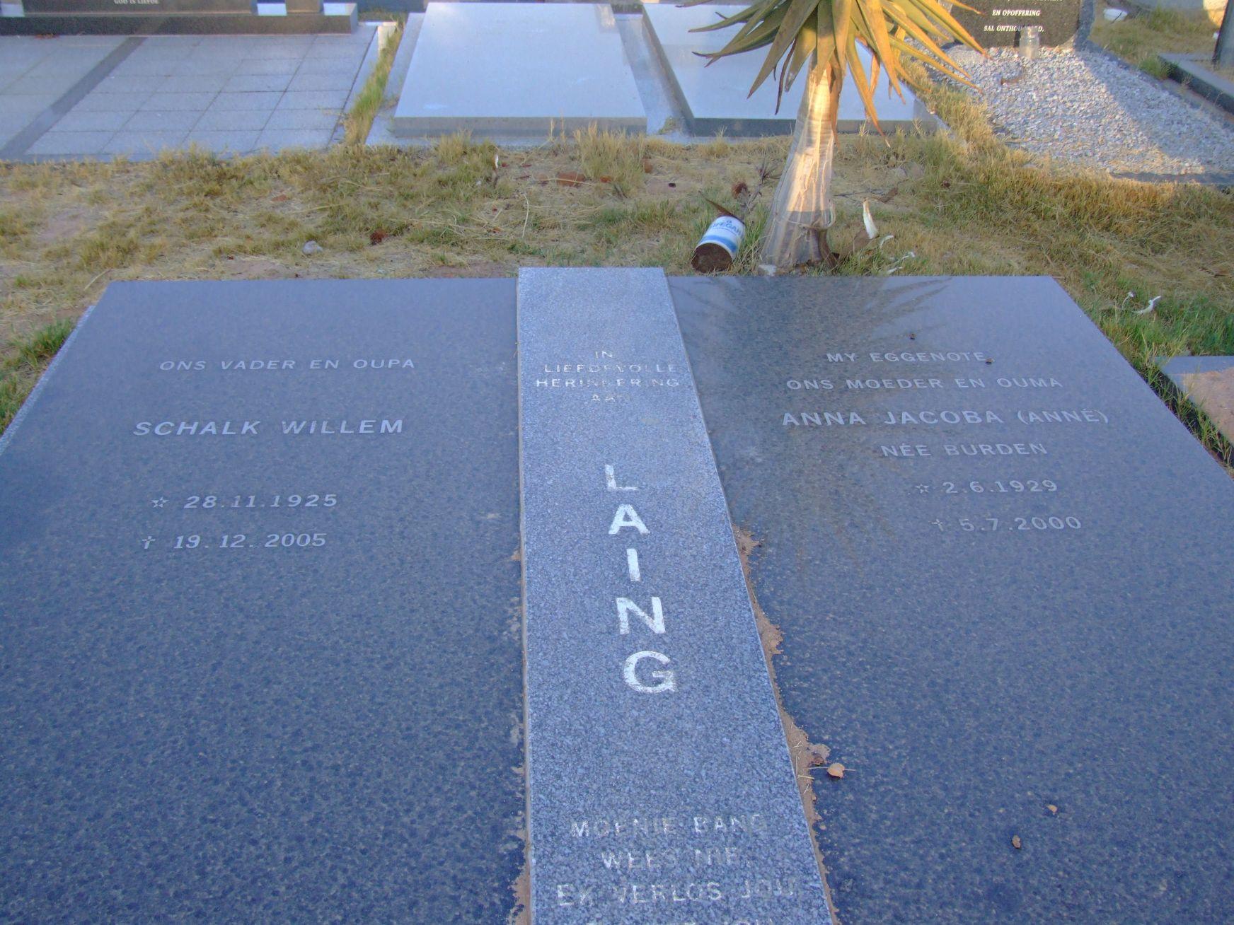 Laing,Schalk Willem & Anna jacoba (Anne) nee Burden