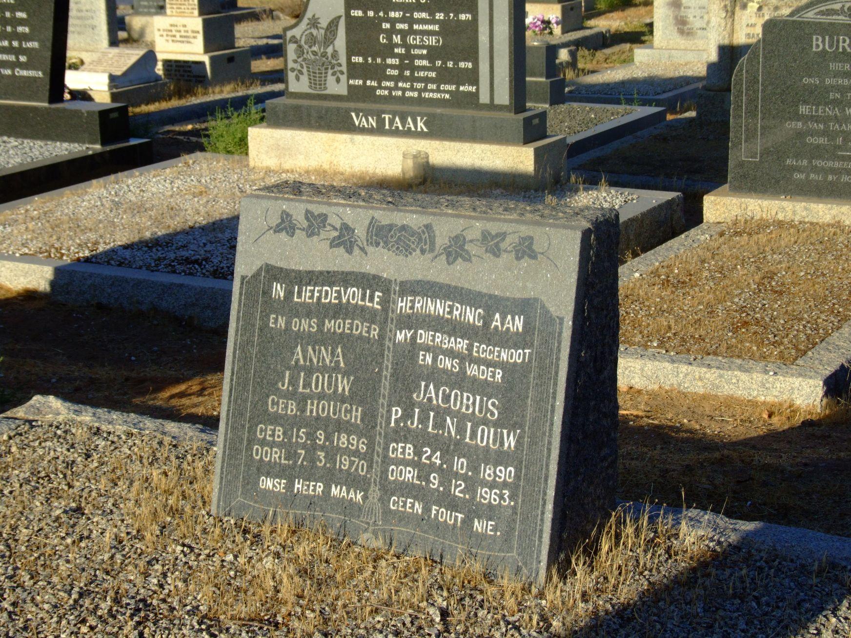 Louw, Jacobus P.J.L.N. & Anna J nee Hough
