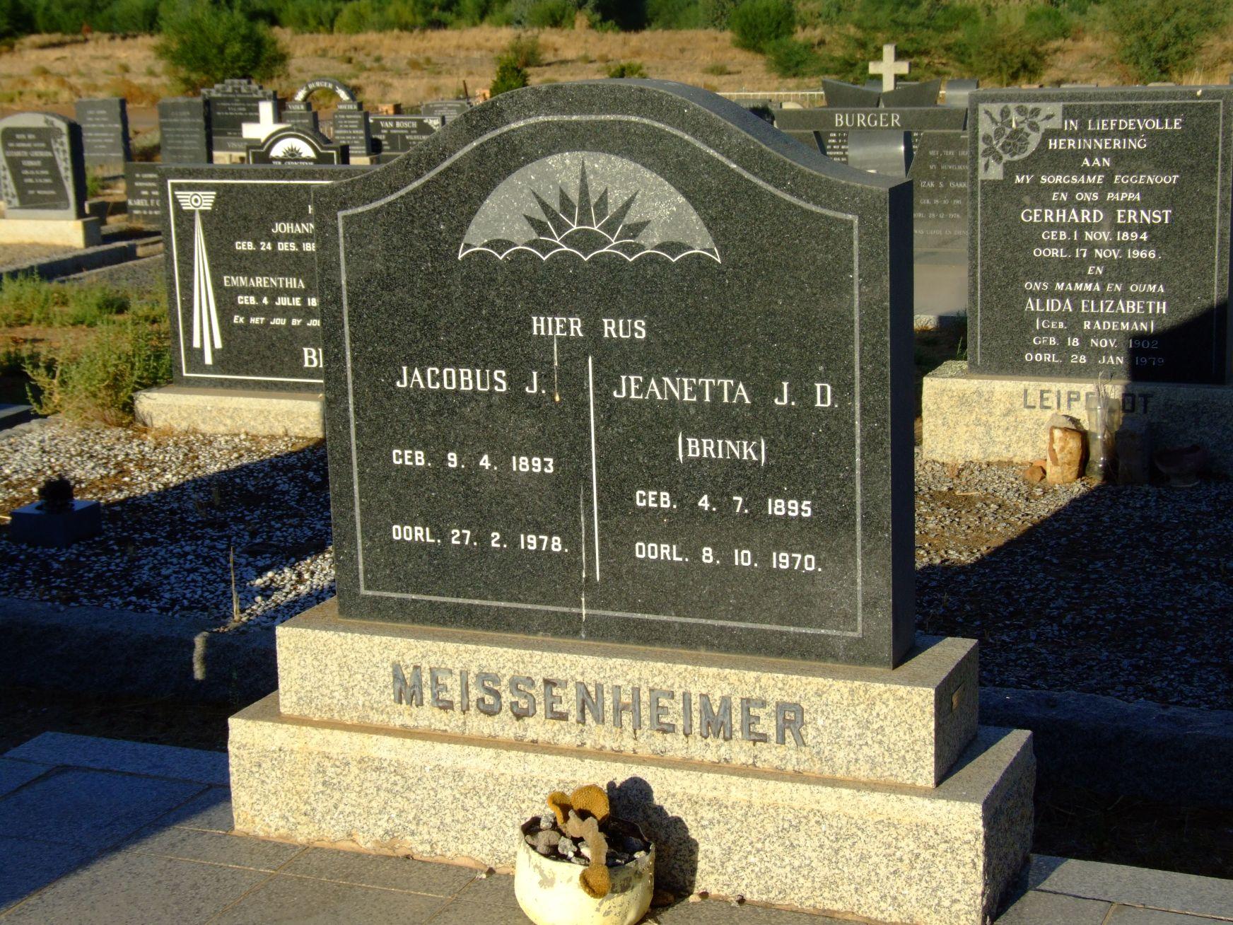 Meissenheimer, Jacobus J. and Messenheimer, Jeanetta J. D. (nee
