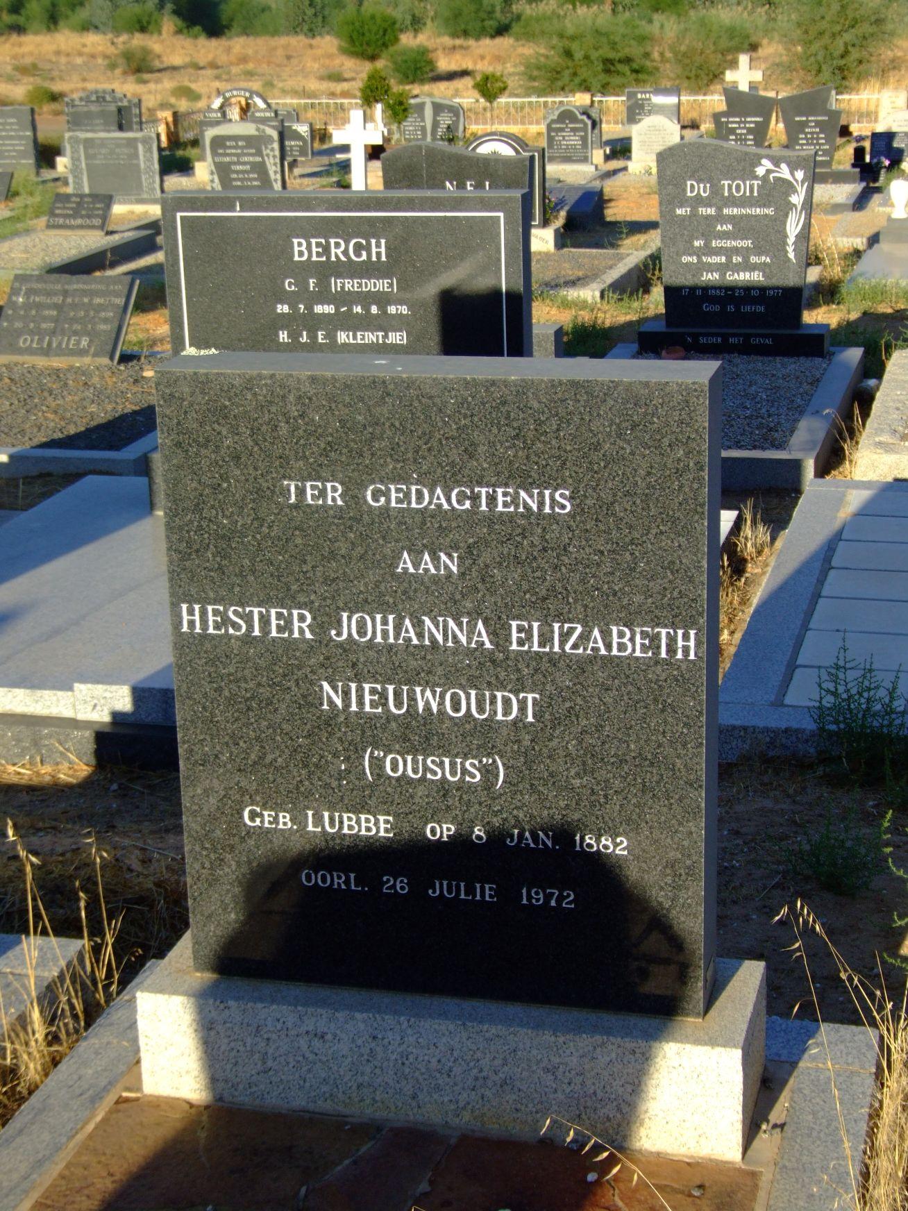Nieuwoudt, Hester Johanna Elizabeth