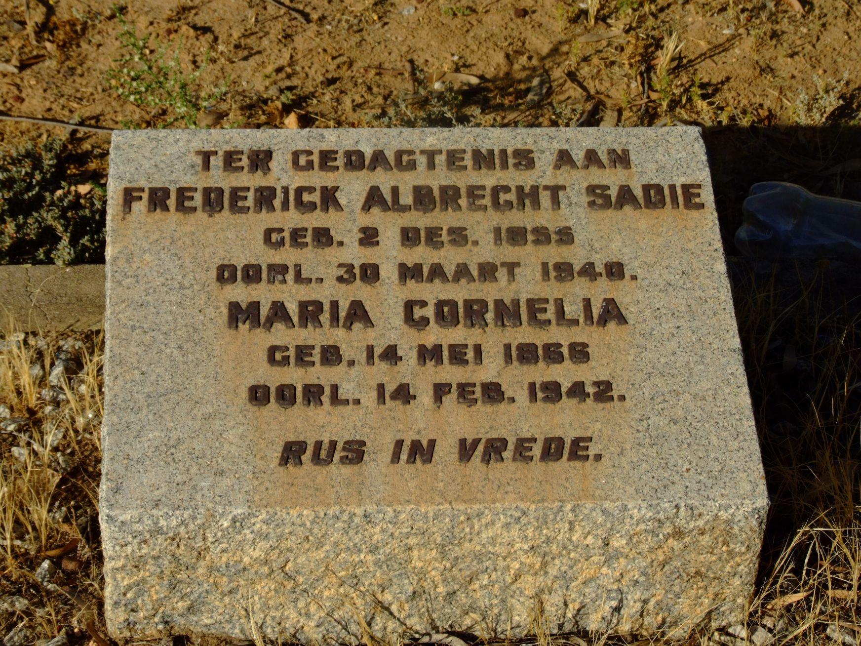 Sadie, Frederick Albrecht + Sadie, Maria Cornelia