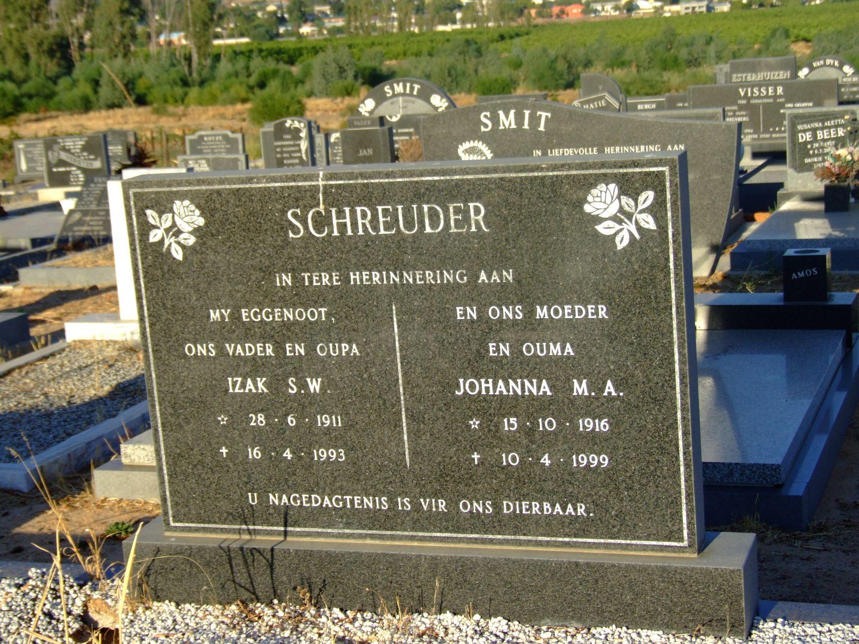 Schreuder, Izak S. W. + Schreuder, Johanna M. A.