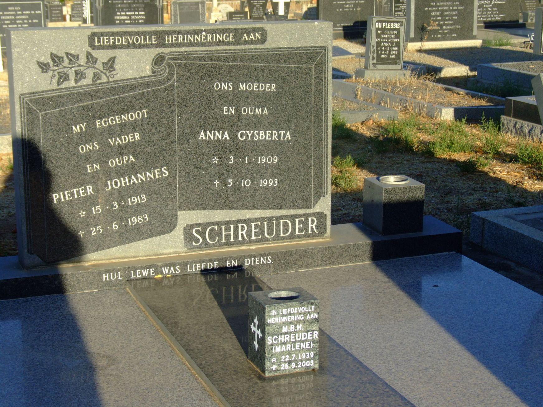 Schreuder, Pieter Johannes + Schreuder, Anna Gysberta