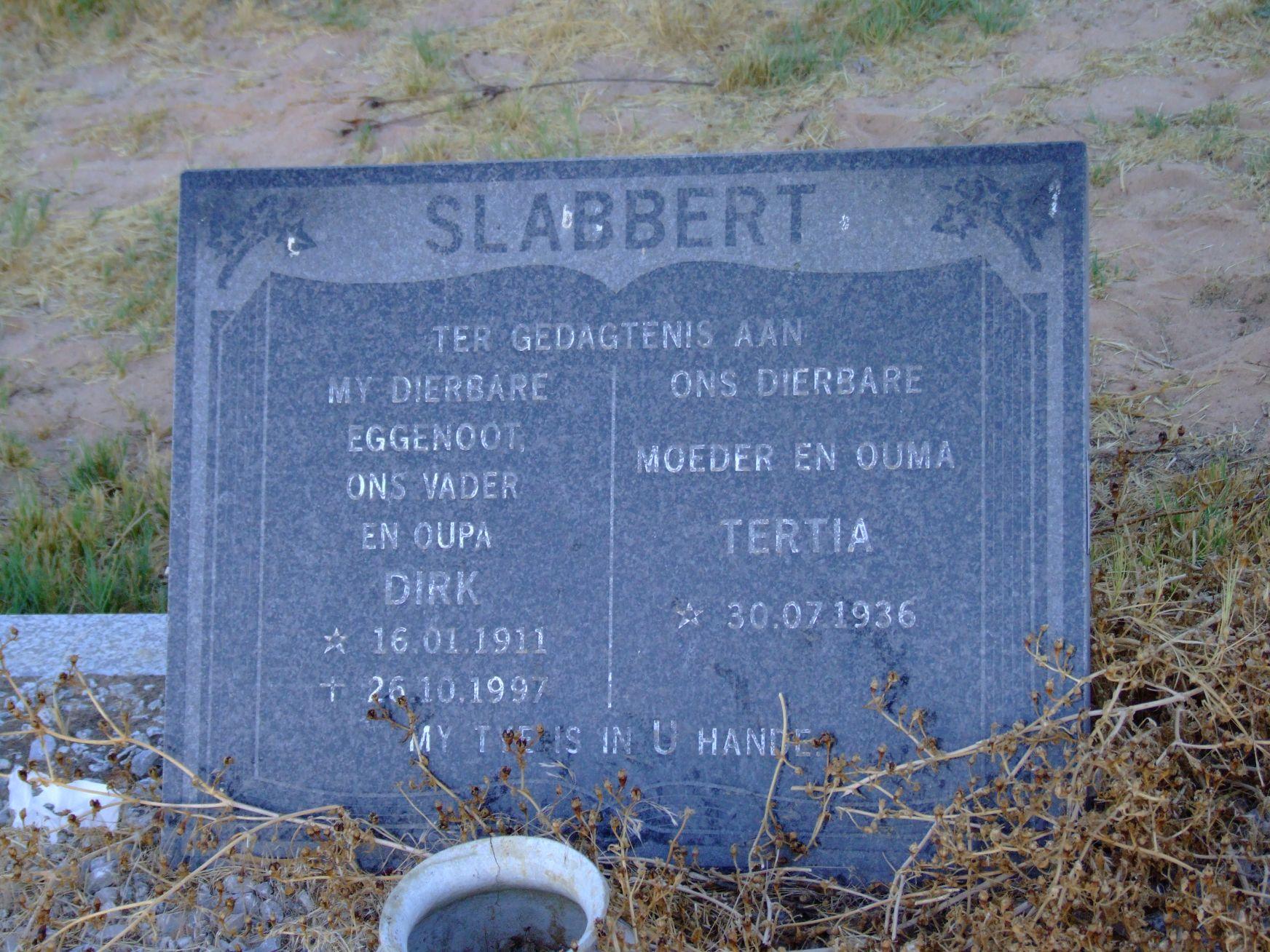 Slabbert, Dirk + Slabbert Tertia