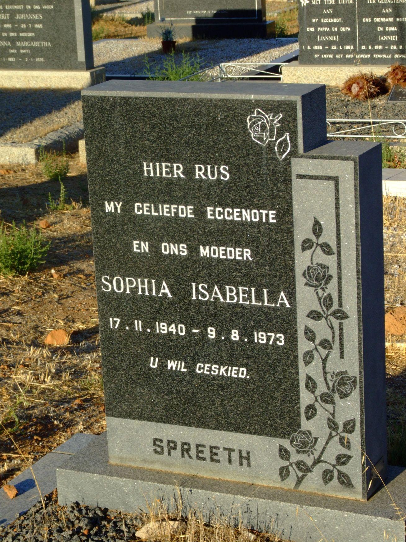 Spreeth, Sophia Isabella