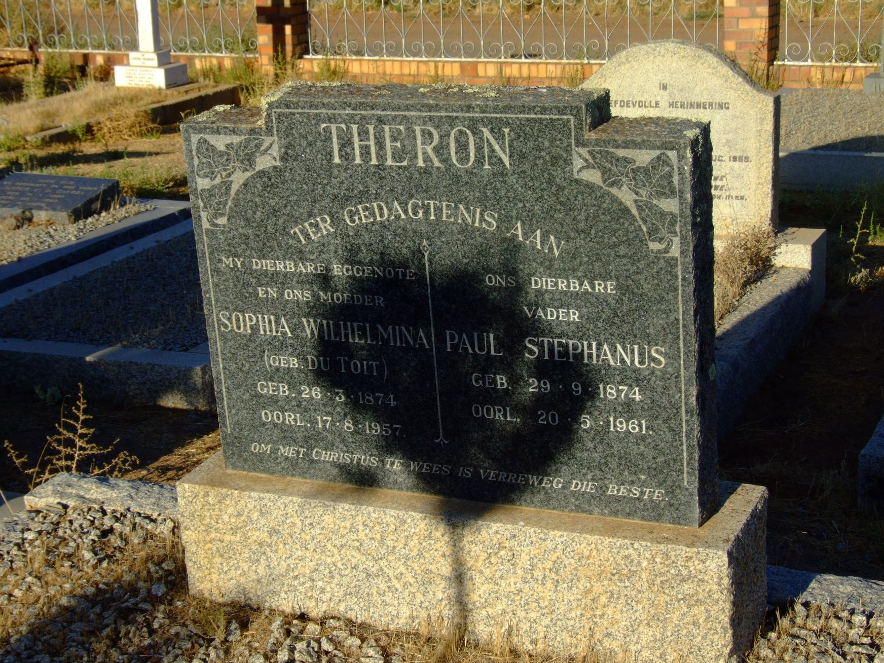 Theron, Sophia Wilhelmina (gebore Du Toit) + Theron, Paul Stepha