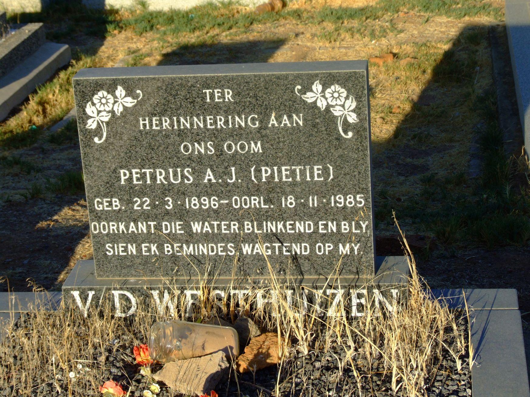 V D Westhuizen, Petrus A. J. (Pietie)