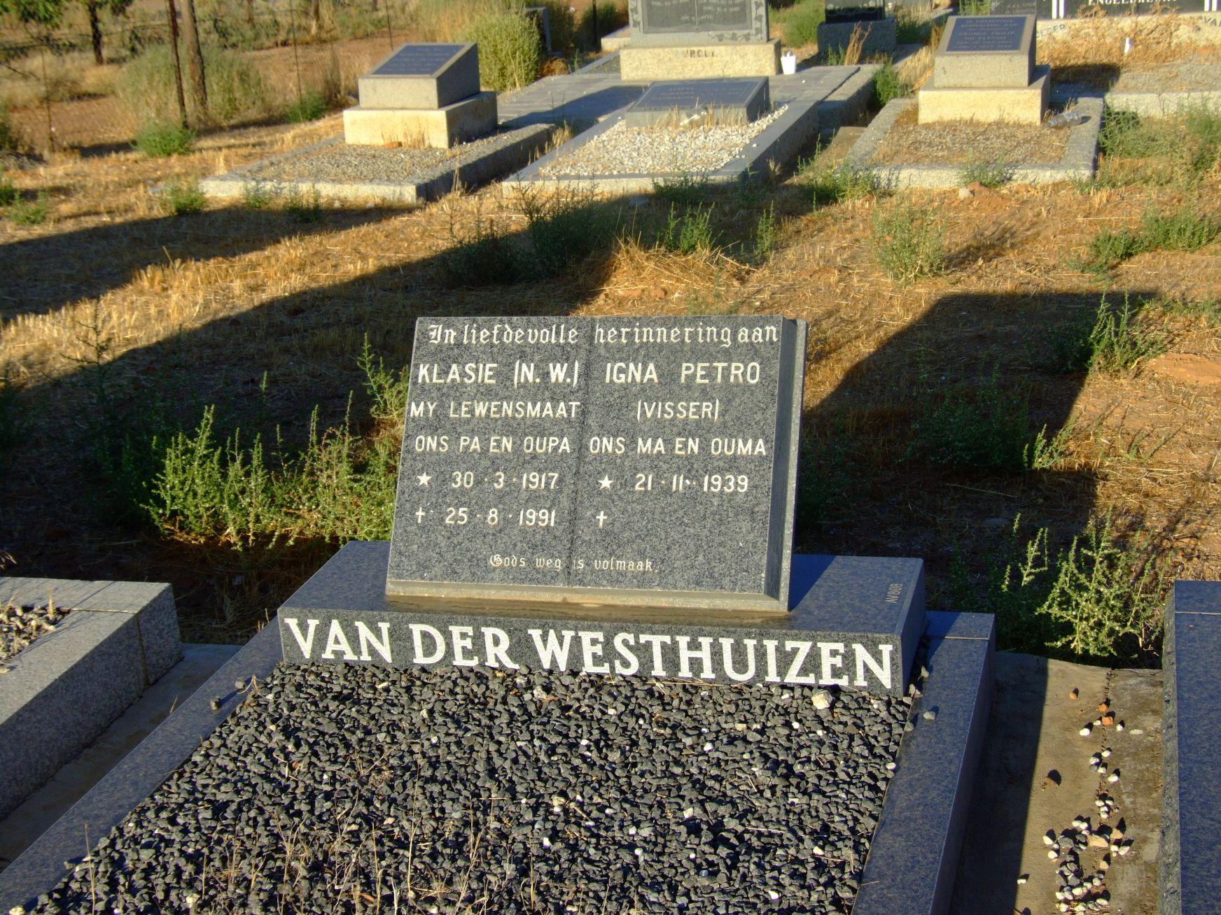 van der Westhuizen, Klasie (N.W.) and van der Westhuizen, Igna P