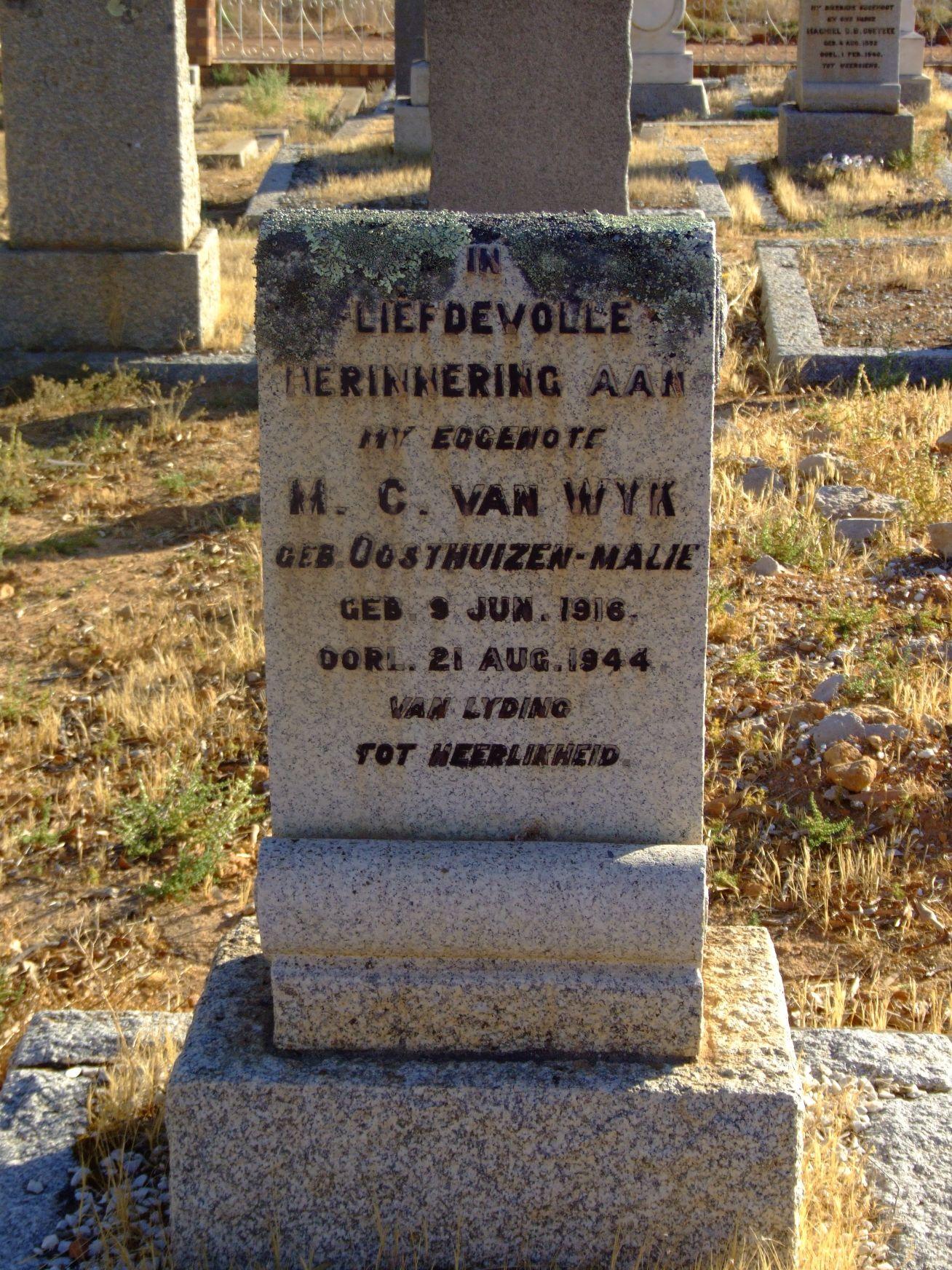 Van Wyk, H.C. geb Oosthuizen- Malie