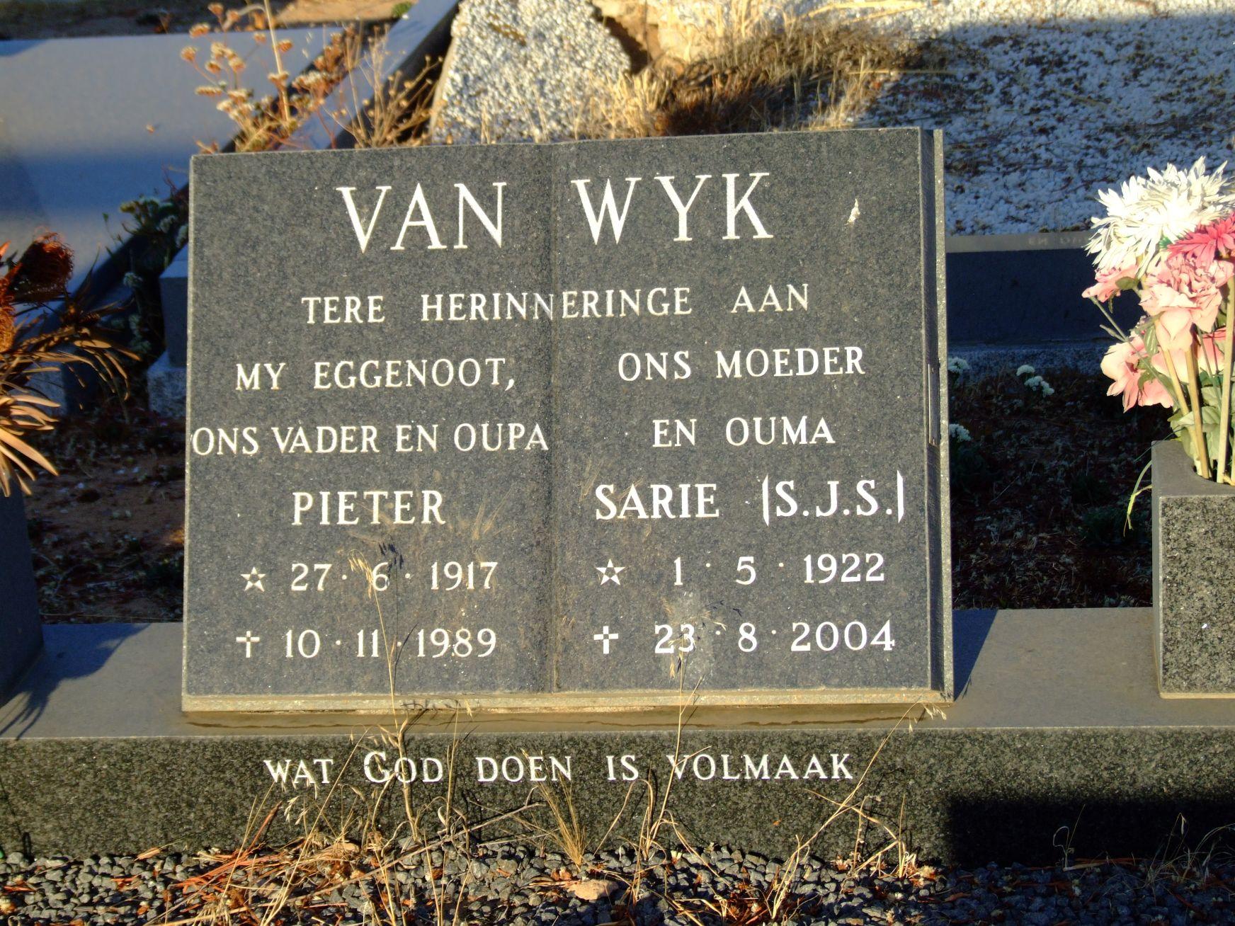 Van Wyk, Pieter and Sarie