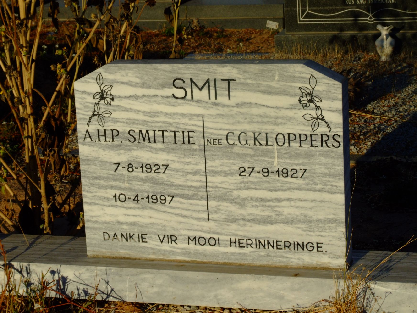 Smit A H P (Smittie) and C G Kloppers
