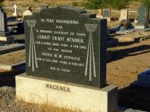 Wagener, Gerrit Ernst Hendrik + Wagerner, Anna M.M.