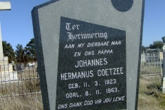 Coetzee, Johannes Hermanus born 11 March 1923 died 08 November 1963