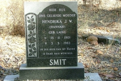 Smit, Hendrika J.W. (Hannah) gebore Laing