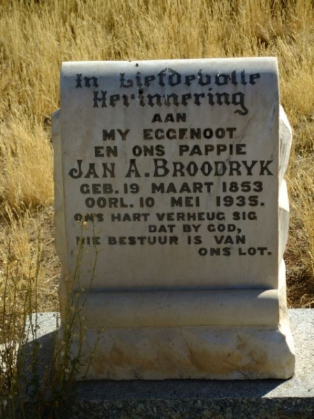 Broodryk, Jan A born 19 March 1853 died 10 May 1935