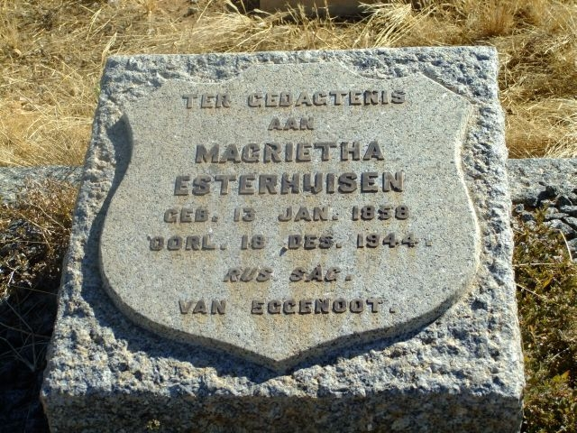 Esterhuizen, Magrietha born 13 January 1858 died 18 December 1944