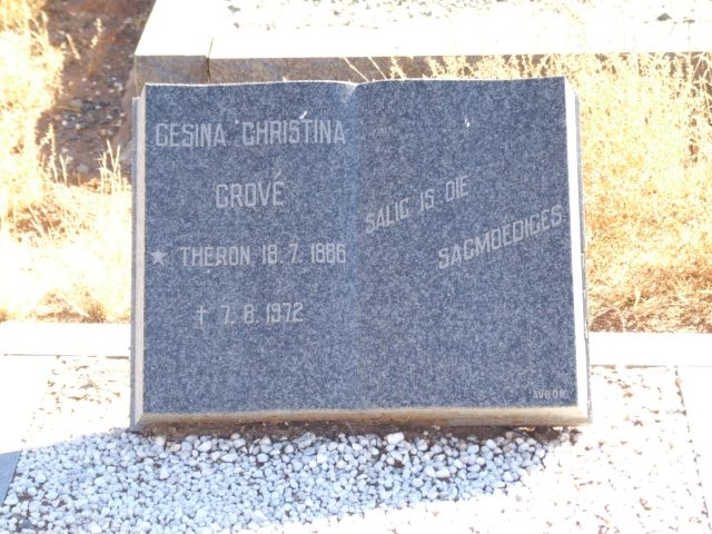 Grove, Gesina Christina nee Theron born 18 July 1886 died 07 August 1972