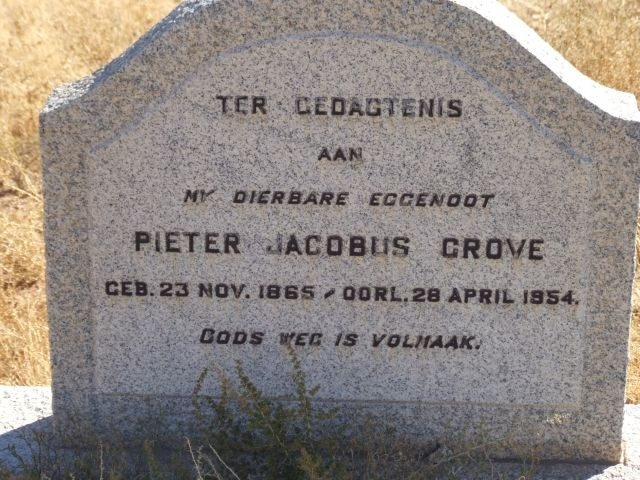 Grove, Pieter Jacobus born 23 November 1865 died 28 April 1954