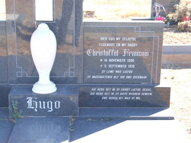 Hugo, Christoffel Francois born 14 November 1906 died 05 September 1979