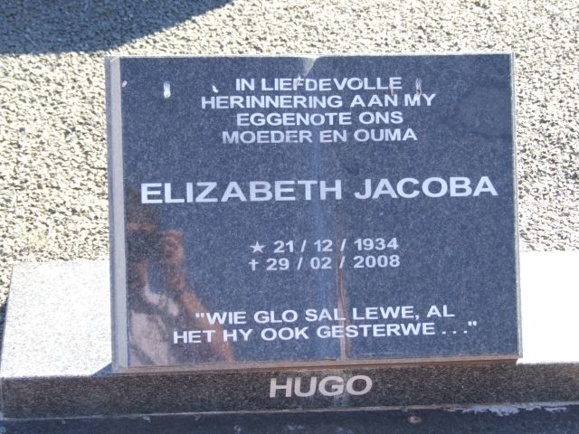Hugo, Elzabeth Jacoba born 21 December 1934 died 29 February 2008