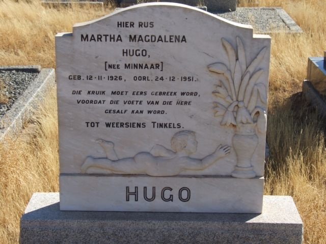Hugo, Martha Magdalena nee Hugo born 12 November 1926 died 24 December 1951