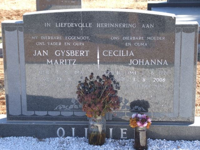 Illegible, Jan Gysbert Maritz born 07 May 1923 died 23 October 19 + Cecilia Johanna nee Blom born 08 June 1928 died 01 August 2006