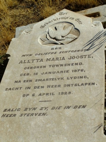 Jooste, Aletta Maria nee Townshend born 16 January 1876 died 06 April 1929