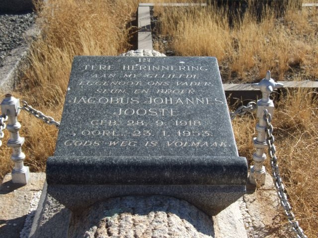 Jooste, Jacobus Johannes born 28 September 1918 died 23 January 1953