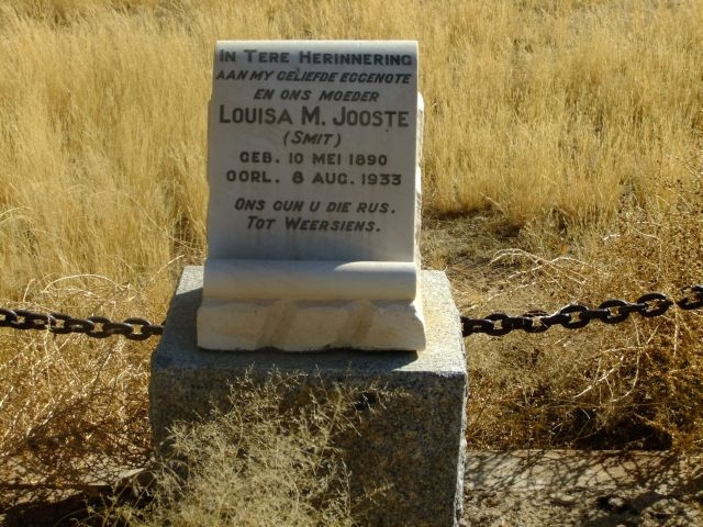 Jooste, Louisa M nee Smit born 10 May 1890 died 08 August 1933