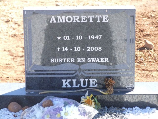 Klue, Amorette born 01 October 1947 died 14 October 2008