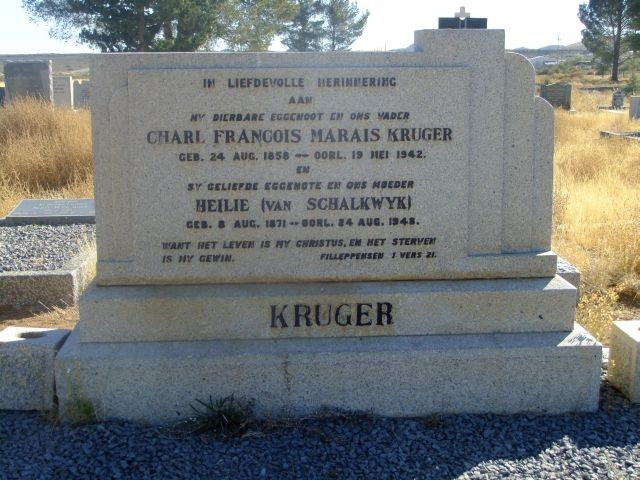 Kruger, Charl Francois Marais born 24 August 1858 died 19 May 1942 + Heilie nee Van Schalkwyk born 08 August 1871 died 24 August 1948