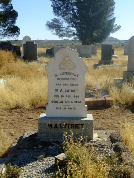 Lotriet. WA born 18 August 1864 died 26 April 1942
