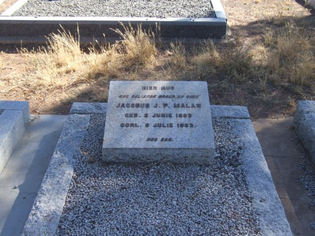 Malan, Jacobus JP born 02 June 1883 died 09 July 1963