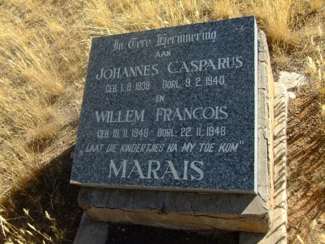 Marais, Willem Francois born 19 November 1948 died 22 November 1948