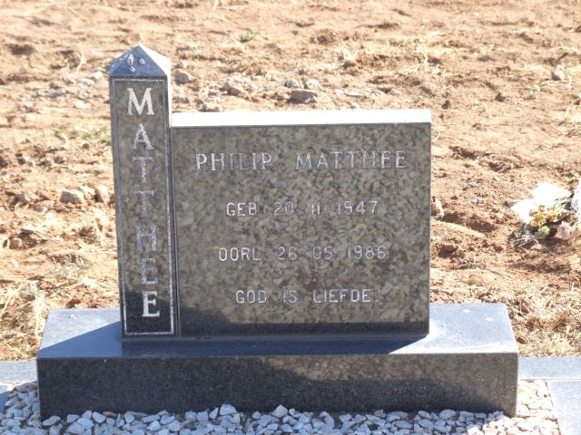 Matthee, Philip born 20 November 1947 died 26 May 1986