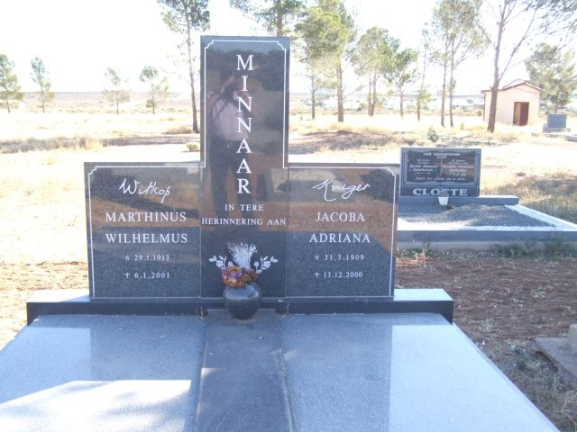 Minaar, Marthinus Wilhelmus Witkop born 29 January 1913 died 06 January 2001 + Jacoba Adriana nee Kruger born 31 March 1909 died 13 December 2000