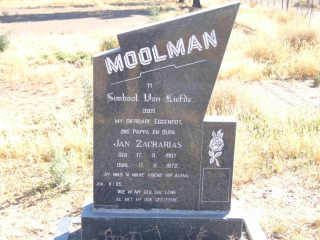 Moolman, Jan Zacharias born 17 September 1907 died 17 September 1972